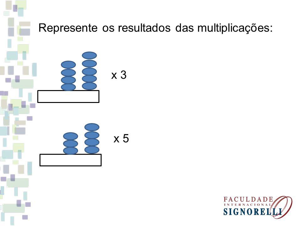 Represente os resultados das multiplicações: x 3 x 5