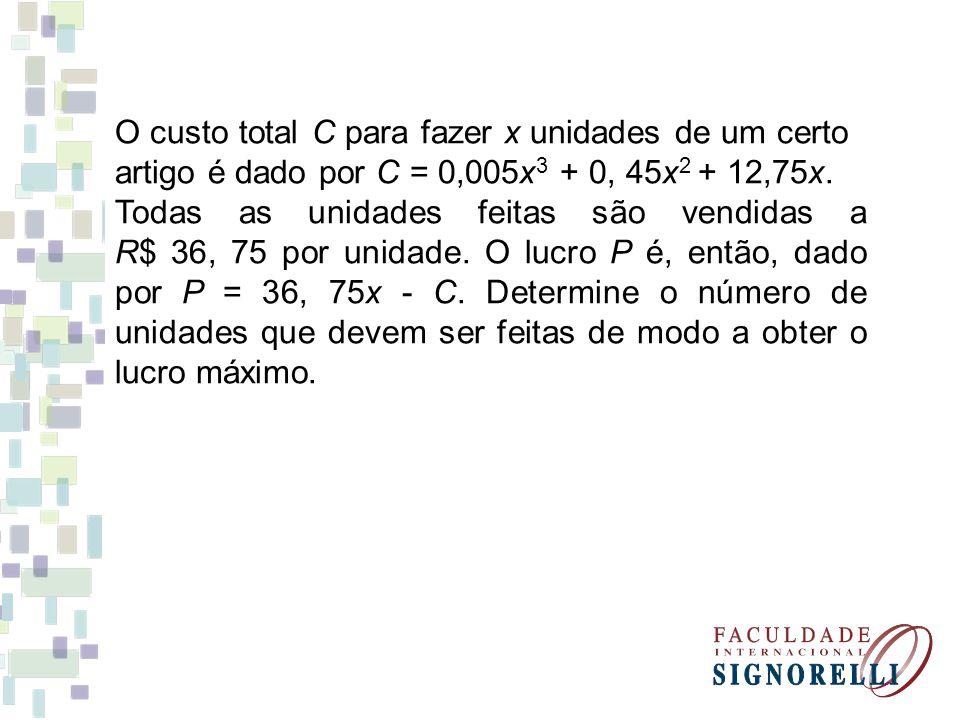 O custo total C para fazer x unidades de um certo artigo é dado por C = 0,005x 3 + 0, 45x 2 + 12,75x. Todas as unidades feitas são vendidas a R$ 36, 7