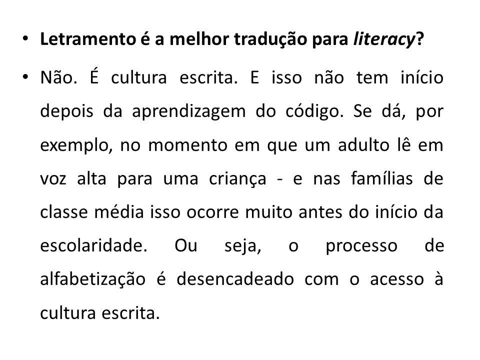 Letramento é a melhor tradução para literacy? Não. É cultura escrita. E isso não tem início depois da aprendizagem do código. Se dá, por exemplo, no m