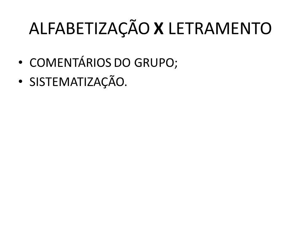 ALFABETIZAÇÃO X LETRAMENTO COMENTÁRIOS DO GRUPO; SISTEMATIZAÇÃO.