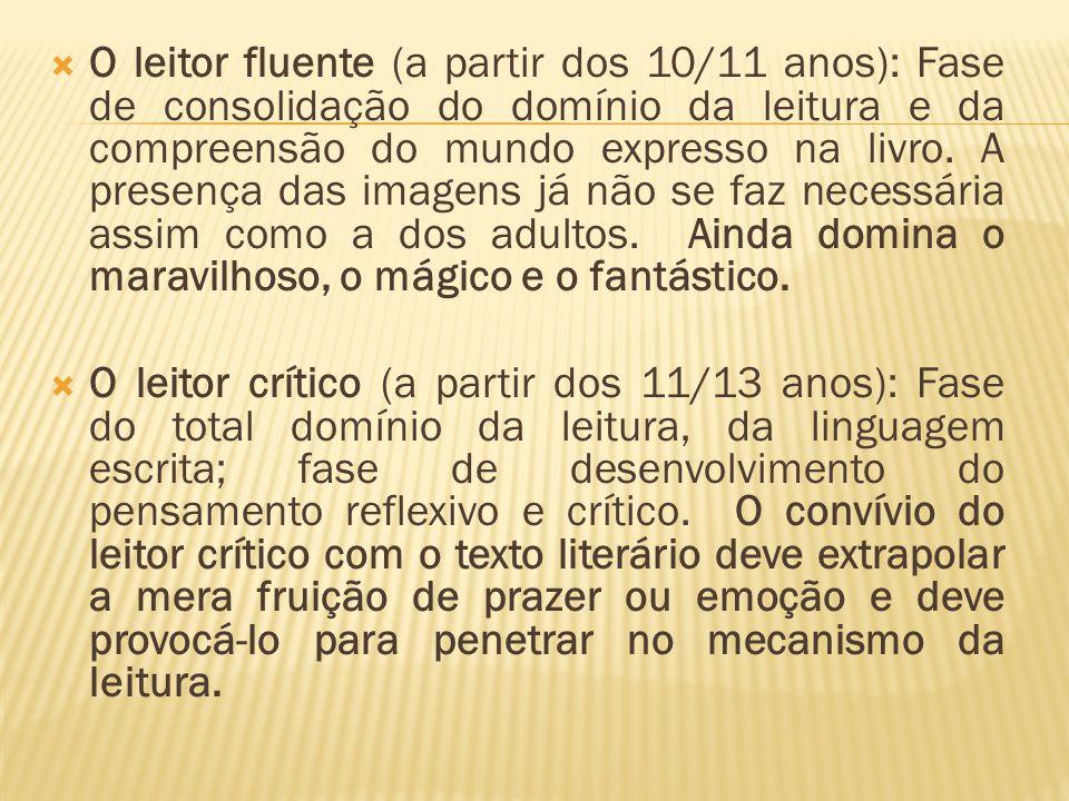 O leitor fluente (a partir dos 10/11 anos): Fase de consolidação do domínio da leitura e da compreensão do mundo expresso na livro. A presença das ima