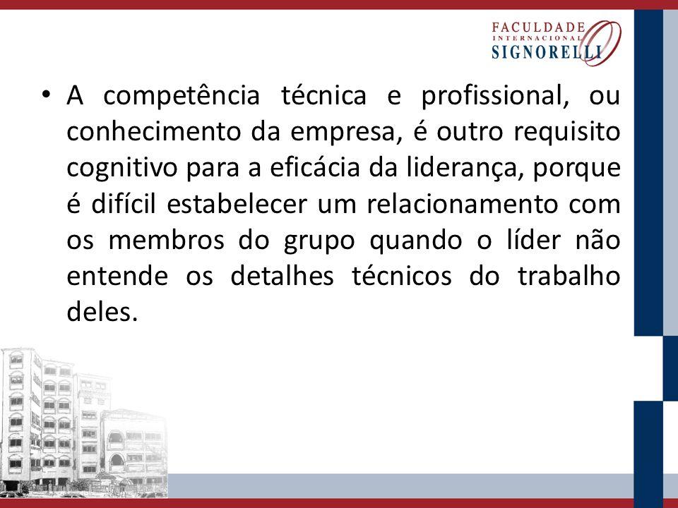 A competência técnica e profissional, ou conhecimento da empresa, é outro requisito cognitivo para a eficácia da liderança, porque é difícil estabelec