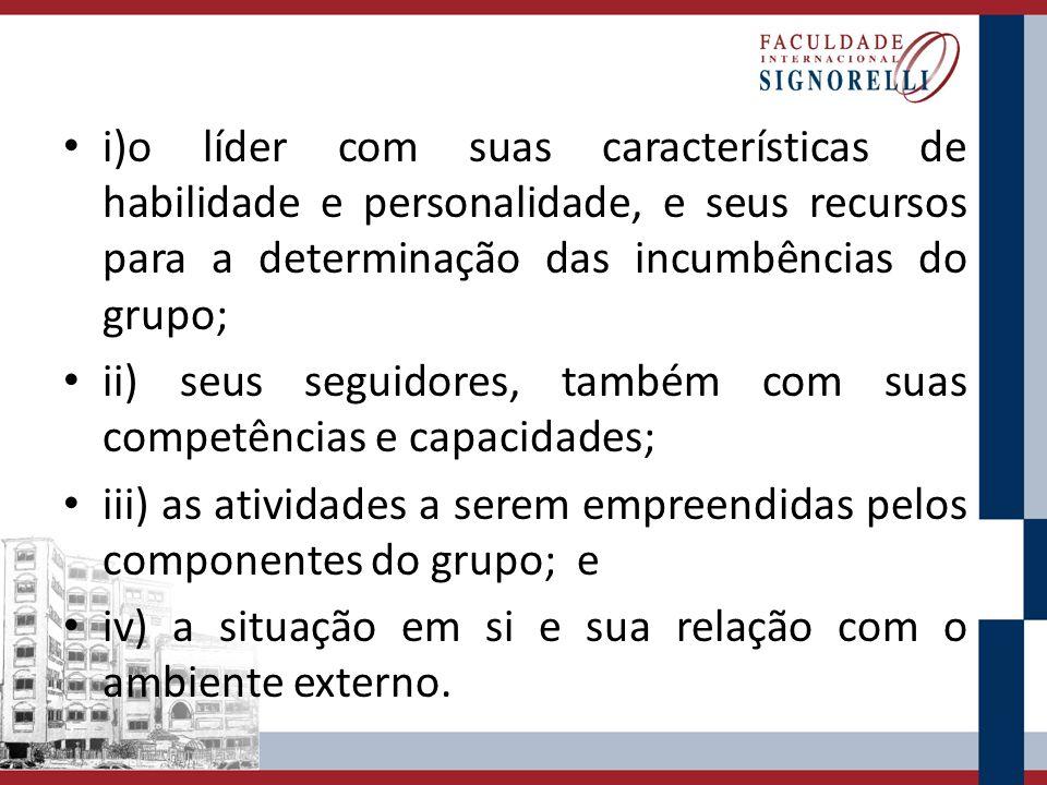 i)o líder com suas características de habilidade e personalidade, e seus recursos para a determinação das incumbências do grupo; ii) seus seguidores,