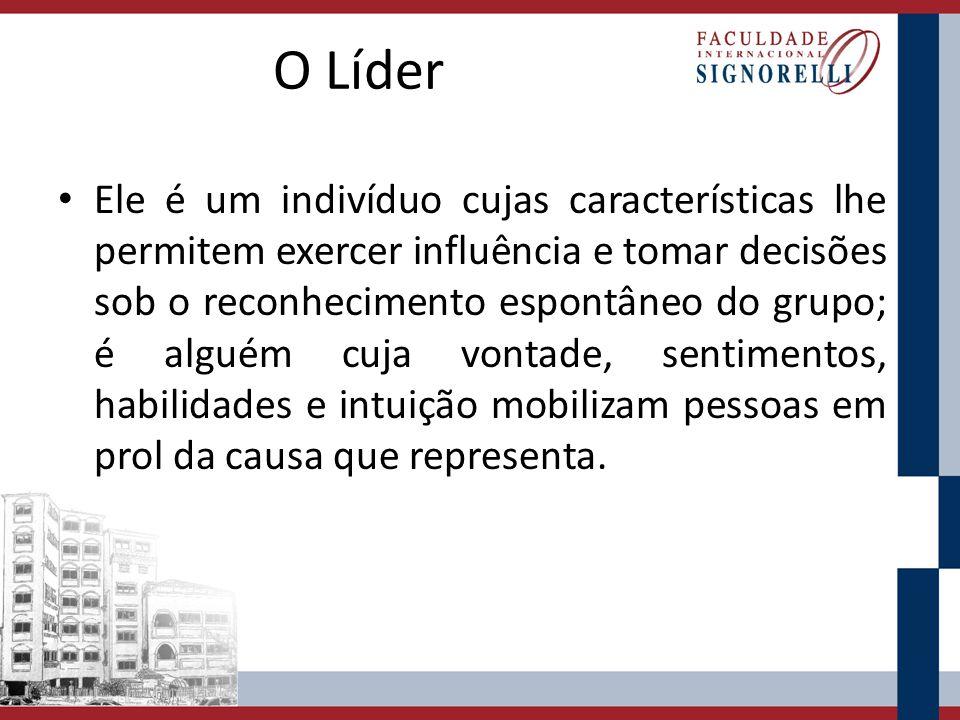 O Líder Ele é um indivíduo cujas características lhe permitem exercer influência e tomar decisões sob o reconhecimento espontâneo do grupo; é alguém c