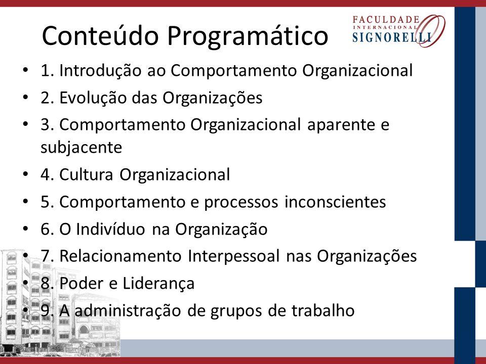 Conteúdo Programático 1. Introdução ao Comportamento Organizacional 2. Evolução das Organizações 3. Comportamento Organizacional aparente e subjacente