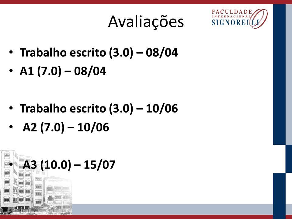 Avaliações Trabalho escrito (3.0) – 08/04 A1 (7.0) – 08/04 Trabalho escrito (3.0) – 10/06 A2 (7.0) – 10/06 A3 (10.0) – 15/07