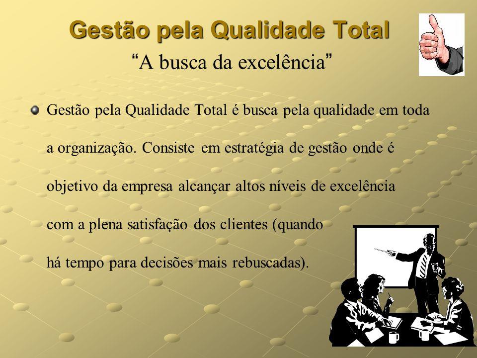 15 Gestão pela Qualidade Total Gestão pela Qualidade Total A busca da excelência Gestão pela Qualidade Total é busca pela qualidade em toda a organiza