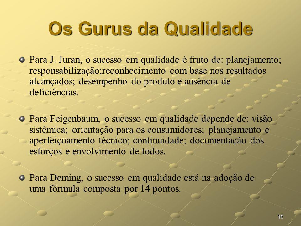16 Os Gurus da Qualidade Para J. Juran, o sucesso em qualidade é fruto de: planejamento; responsabilização;reconhecimento com base nos resultados alca