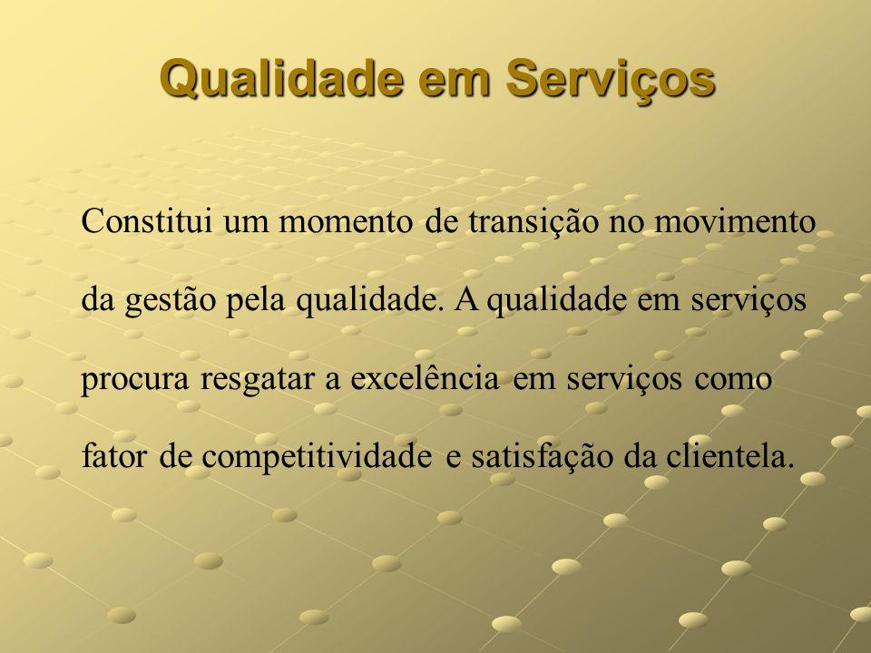 Qualidade em Serviços Constitui um momento de transição no movimento da gestão pela qualidade. A qualidade em serviços procura resgatar a excelência e