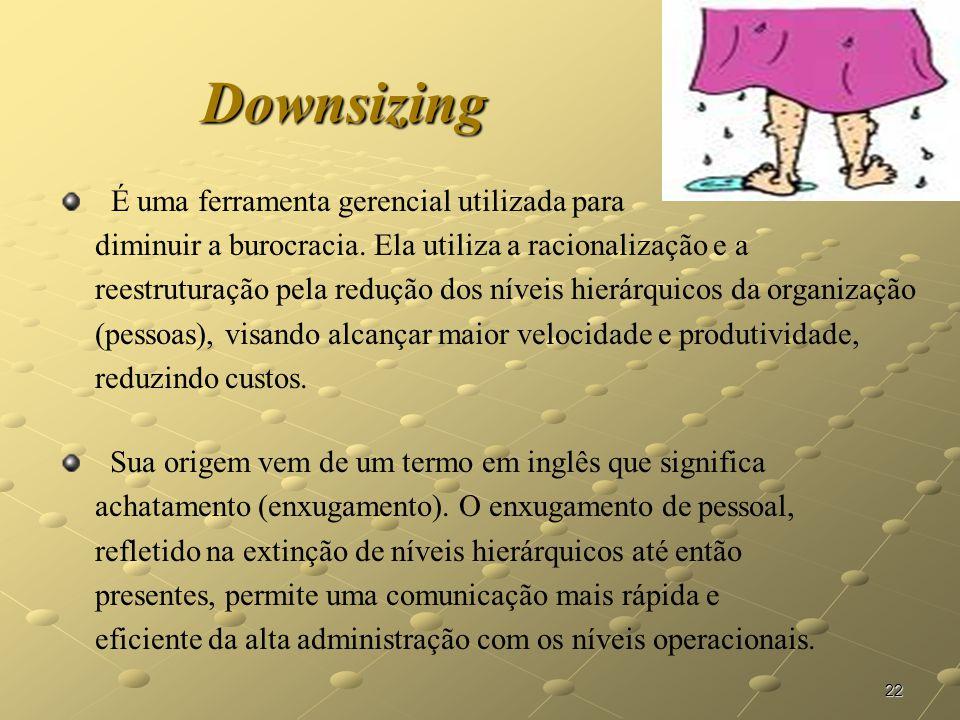 22 Downsizing É uma ferramenta gerencial utilizada para diminuir a burocracia. Ela utiliza a racionalização e a reestruturação pela redução dos níveis
