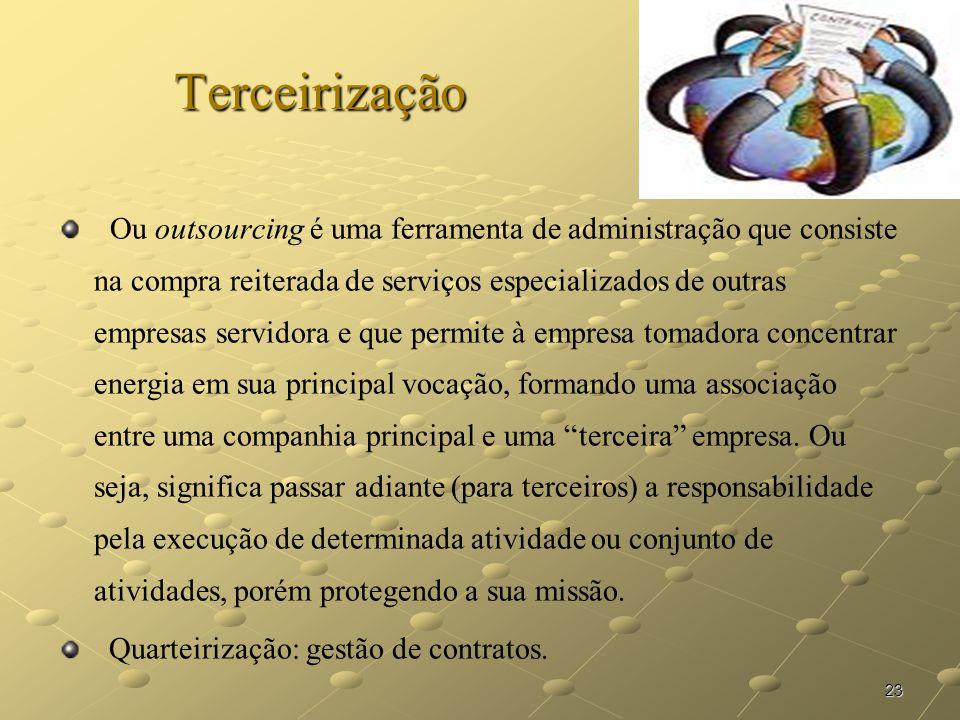 23 Terceirização Ou outsourcing é uma ferramenta de administração que consiste na compra reiterada de serviços especializados de outras empresas servi