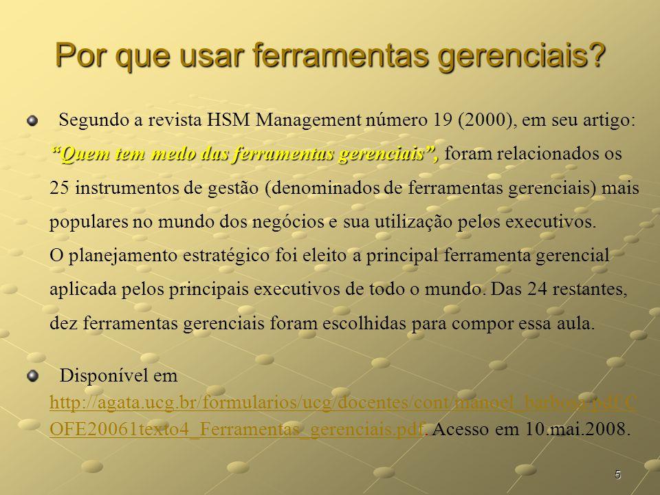 6 Ferramentas Gerenciais 1.Benchmarking; 2.Empowerment; 3.Reengenharia; 4.Gestão da Qualidade Total; 5.Brainstorming; 6.