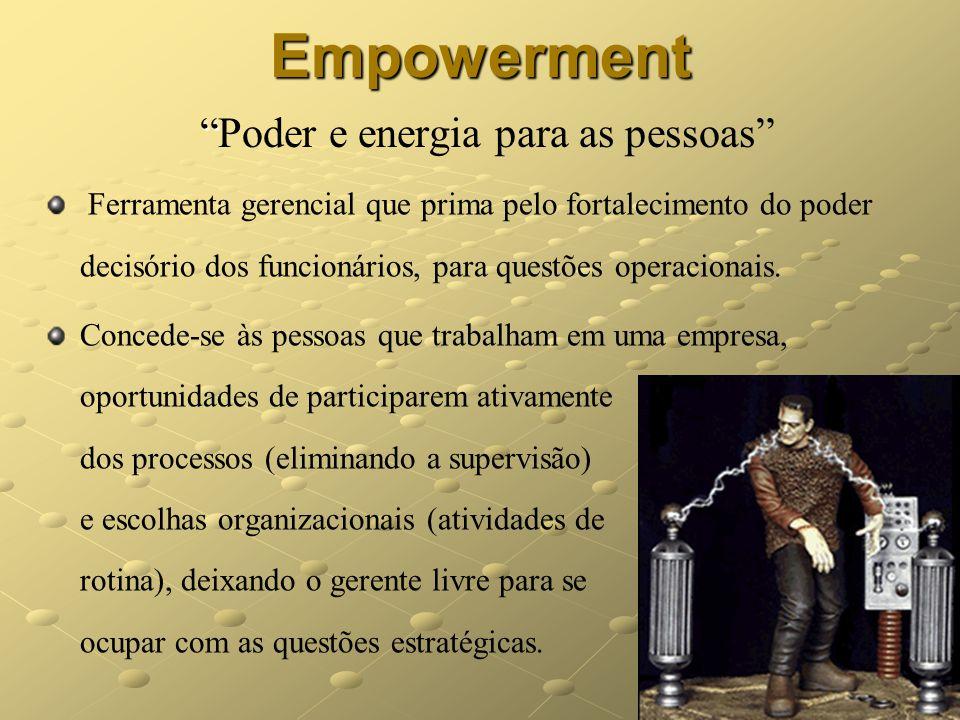 9 Empowerment EmpowermentPoder e energia para as pessoas Ferramenta gerencial que prima pelo fortalecimento do poder decisório dos funcionários, para