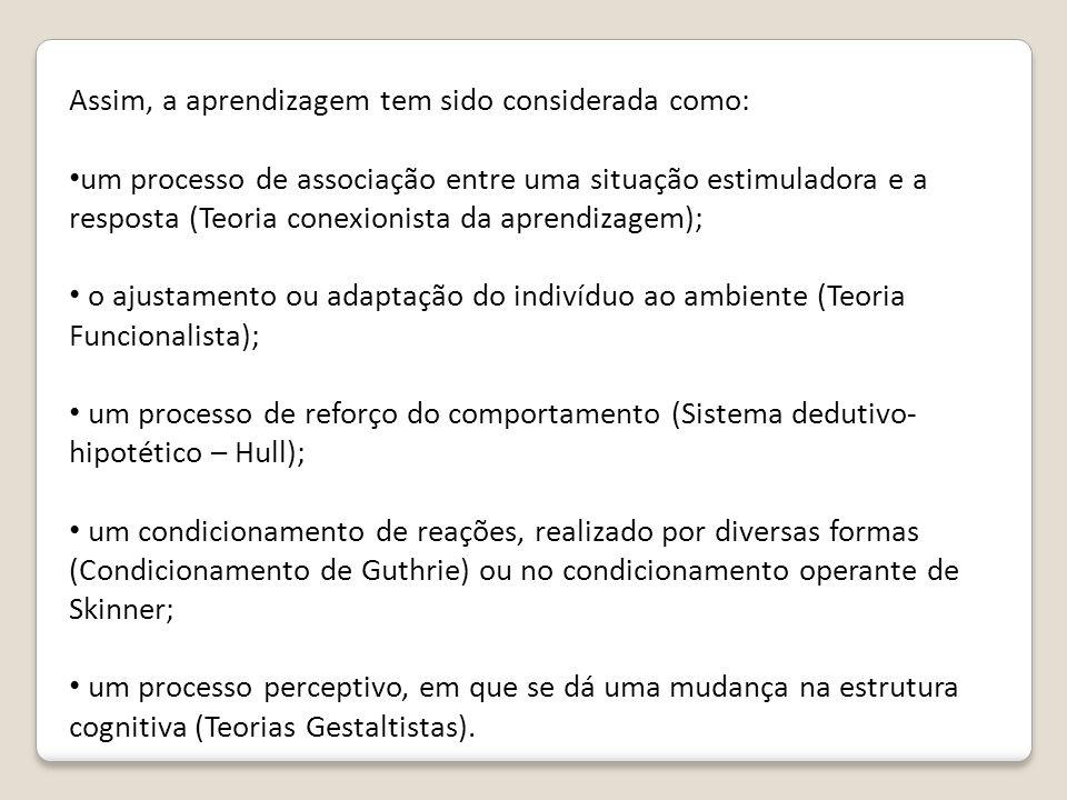 Assim, a aprendizagem tem sido considerada como: um processo de associação entre uma situação estimuladora e a resposta (Teoria conexionista da aprend