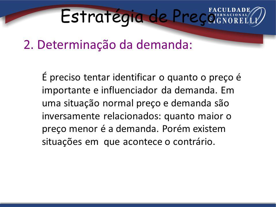 Estratégia de Preço 2. Determinação da demanda: É preciso tentar identificar o quanto o preço é importante e influenciador da demanda. Em uma situação