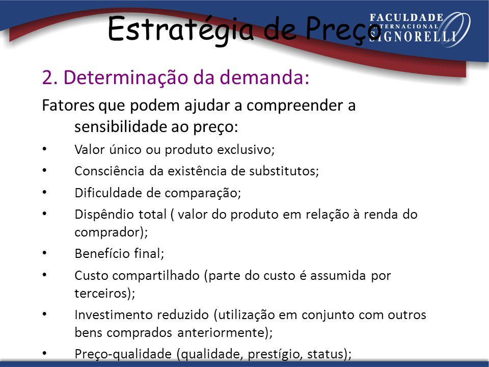 Estratégia de Preço 2. Determinação da demanda: Fatores que podem ajudar a compreender a sensibilidade ao preço: Valor único ou produto exclusivo; Con