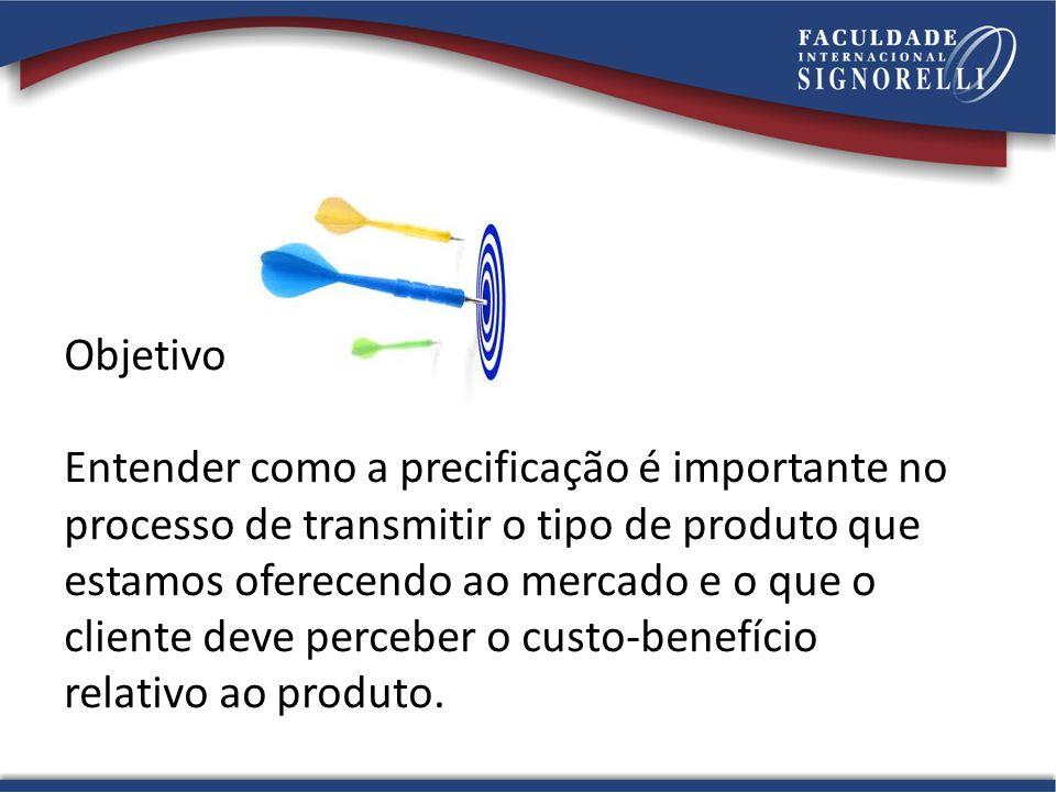 Objetivo Entender como a precificação é importante no processo de transmitir o tipo de produto que estamos oferecendo ao mercado e o que o cliente dev