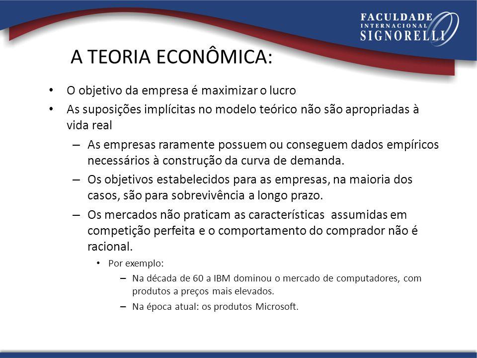 A TEORIA ECONÔMICA: O objetivo da empresa é maximizar o lucro As suposições implícitas no modelo teórico não são apropriadas à vida real – As empresas