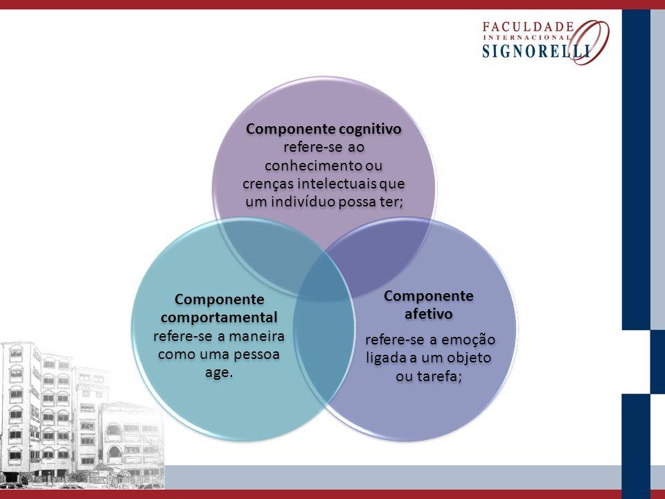 Componente cognitivo refere-se ao conhecimento ou crenças intelectuais que um indivíduo possa ter; Componente afetivo refere-se a emoção ligada a um o