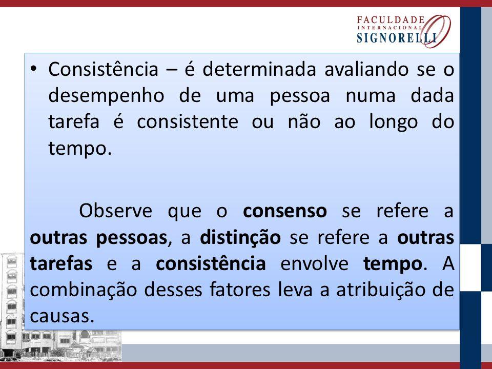 Consistência – é determinada avaliando se o desempenho de uma pessoa numa dada tarefa é consistente ou não ao longo do tempo. Observe que o consenso s
