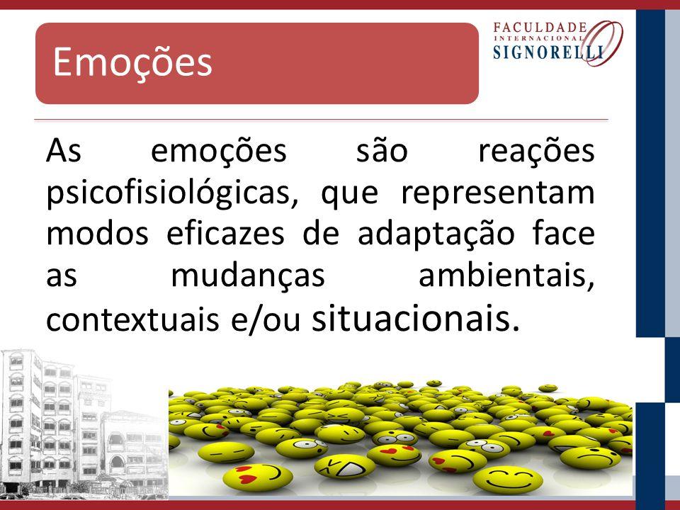 Emoções As emoções são reações psicofisiológicas, que representam modos eficazes de adaptação face as mudanças ambientais, contextuais e/ou situaciona