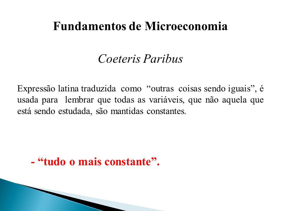 Fundamentos de Microeconomia Coeteris Paribus Expressão latina traduzida como outras coisas sendo iguais, é usada para lembrar que todas as variáveis, que não aquela que está sendo estudada, são mantidas constantes.