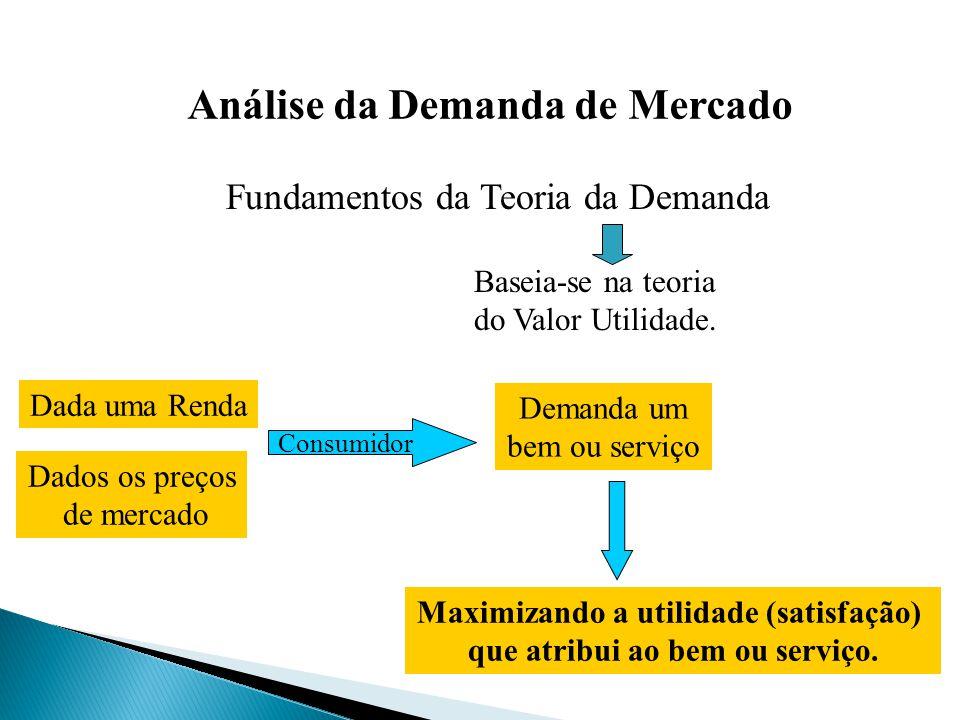 Fundamentos da Teoria da Demanda Baseia-se na teoria do Valor Utilidade. Dada uma Renda Dados os preços de mercado Consumidor Demanda um bem ou serviç