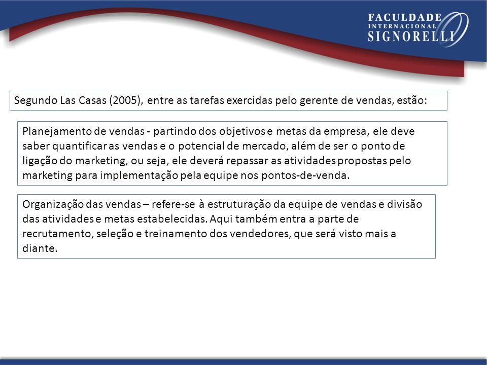 Segundo Las Casas (2005), entre as tarefas exercidas pelo gerente de vendas, estão: Planejamento de vendas - partindo dos objetivos e metas da empresa