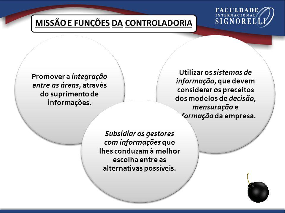 ESTRUTURA DA CONTROLADORIA CONTROLADORIA PLANEJAMENTO E CONTROLECONTÁBIL E FISCAL Orçamentos e projeções Contabilidade Gerencial Centros de Responsabilidade Planejamento Tributário Acompanhamento do Negócio Contabilidade Financeira Contabilidade de Custos Contabilidade Tributária Controle Patrimonial SISTEMA DE INFORMAÇÕES GERENCIAIS