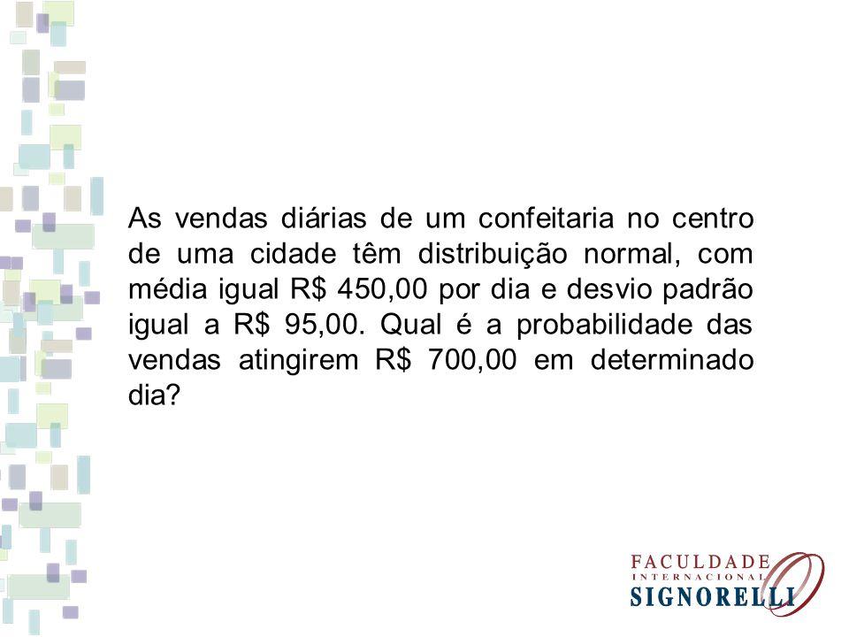 As vendas diárias de um confeitaria no centro de uma cidade têm distribuição normal, com média igual R$ 450,00 por dia e desvio padrão igual a R$ 95,0