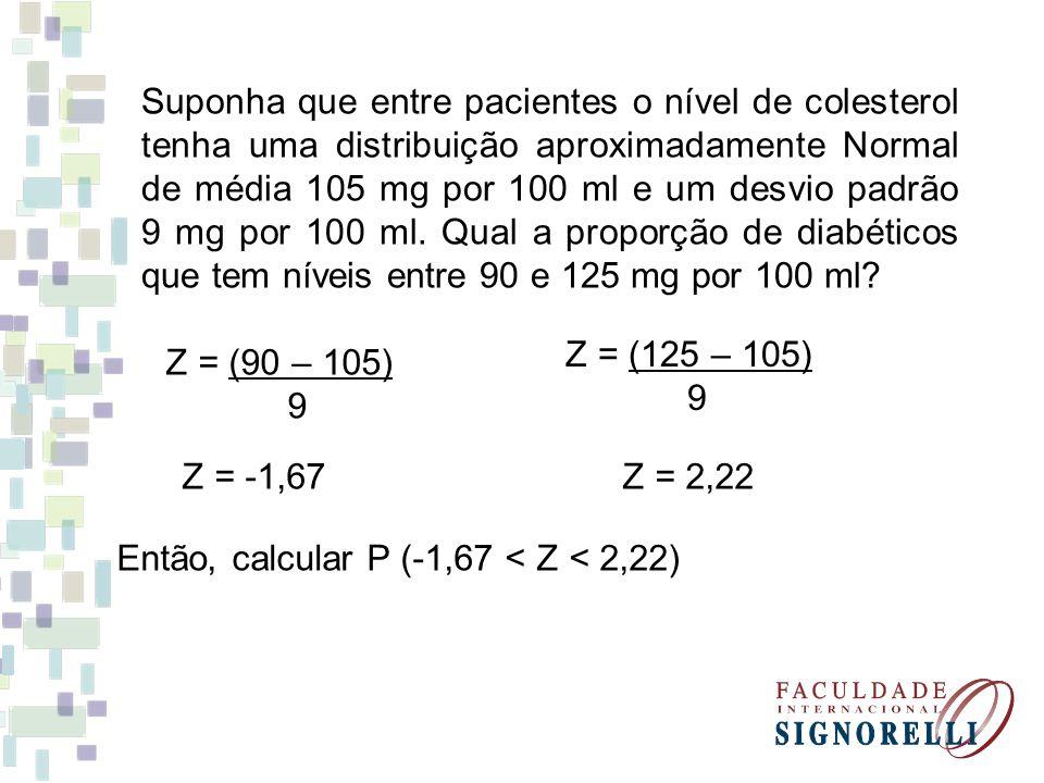 Suponha que entre pacientes o nível de colesterol tenha uma distribuição aproximadamente Normal de média 105 mg por 100 ml e um desvio padrão 9 mg por