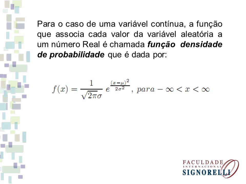 Para o caso de uma variável contínua, a função que associa cada valor da variável aleatória a um número Real é chamada função densidade de probabilida