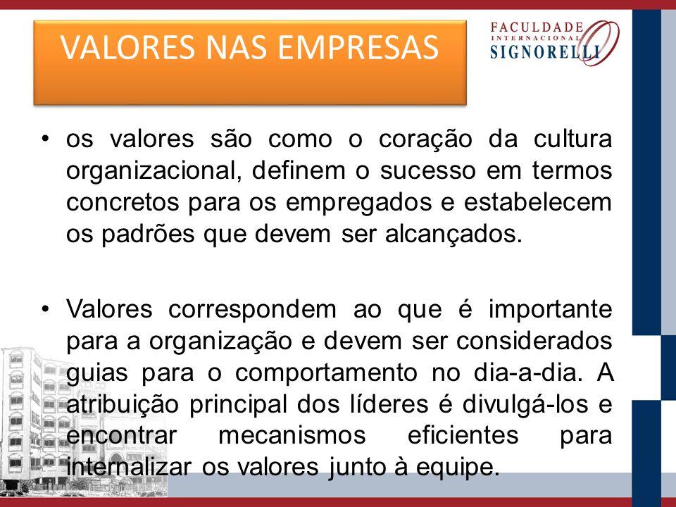 VALORES NAS EMPRESAS os valores são como o coração da cultura organizacional, definem o sucesso em termos concretos para os empregados e estabelecem o