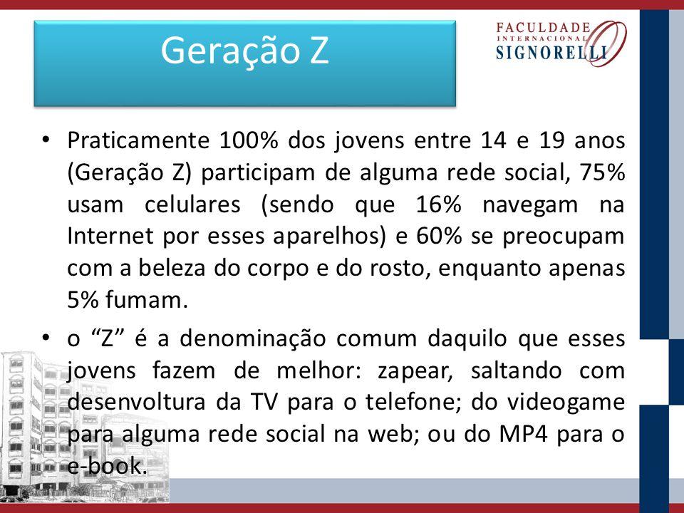 Geração Z Praticamente 100% dos jovens entre 14 e 19 anos (Geração Z) participam de alguma rede social, 75% usam celulares (sendo que 16% navegam na I