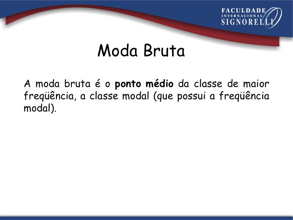 Classe modal: 30  - 40 Ponto Médio: 30 + 40 2 = 35