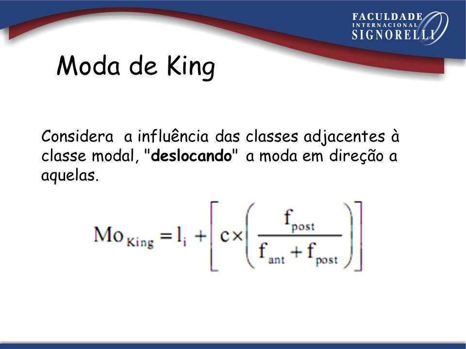 -li é o limite inferior da classe modal (para que a moda seja mantida nesta classe); -c é a amplitude das classes; -f post é a freqüência da classe imediatamente posterior à classe modal; -f ant é a freqüência da classe imediatamente anterior à classe modal;