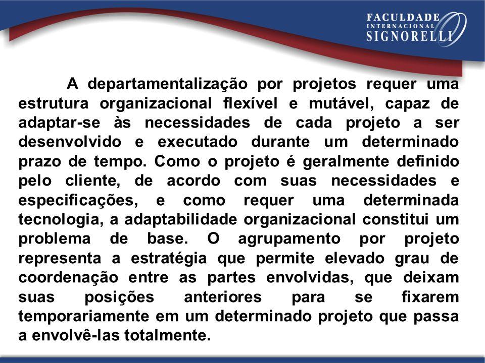 A departamentalização por projetos requer uma estrutura organizacional flexível e mutável, capaz de adaptar-se às necessidades de cada projeto a ser d
