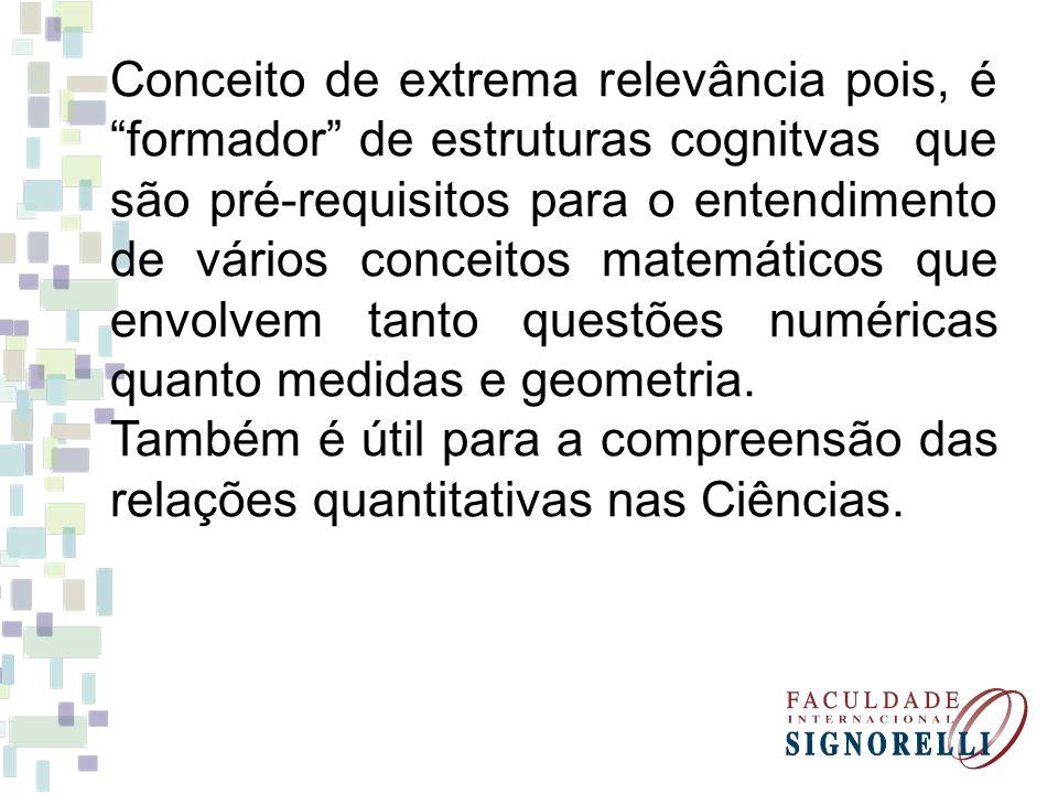 Conceito de extrema relevância pois, é formador de estruturas cognitvas que são pré-requisitos para o entendimento de vários conceitos matemáticos que