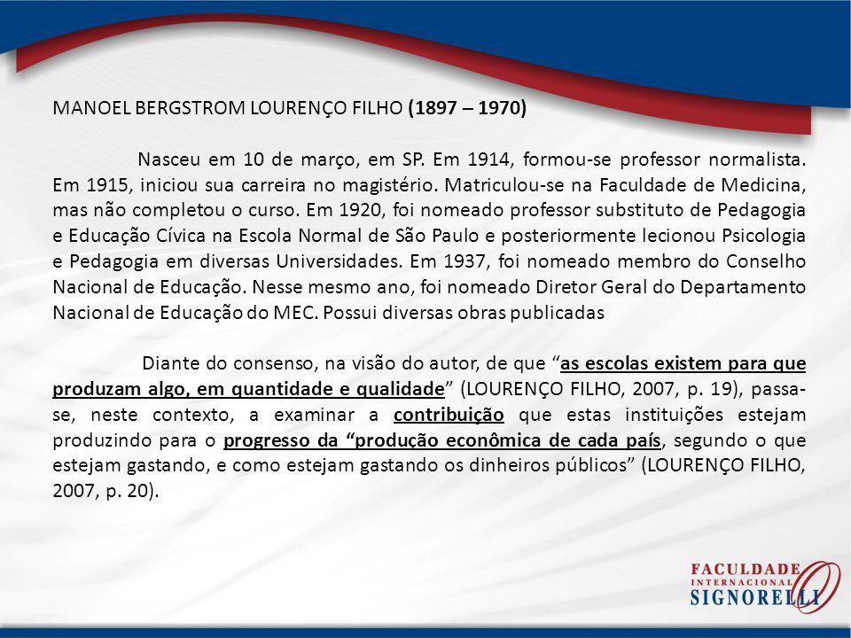 MANOEL BERGSTROM LOURENÇO FILHO (1897 – 1970) Nasceu em 10 de março, em SP. Em 1914, formou-se professor normalista. Em 1915, iniciou sua carreira no