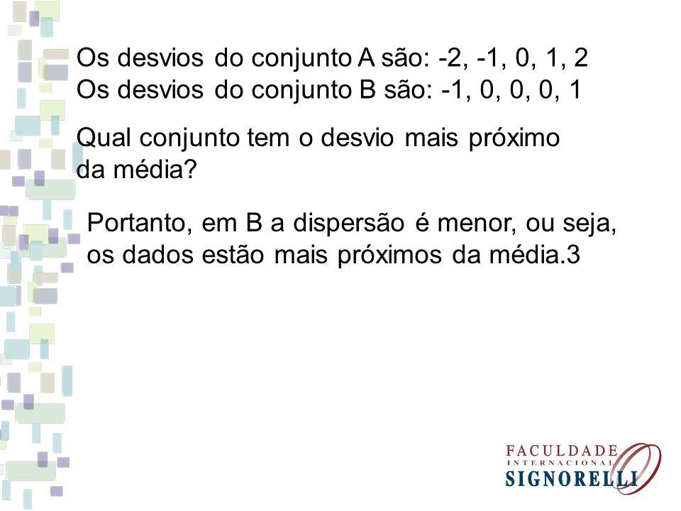 Os desvios do conjunto A são: -2, -1, 0, 1, 2 Os desvios do conjunto B são: -1, 0, 0, 0, 1 Qual conjunto tem o desvio mais próximo da média? Portanto,