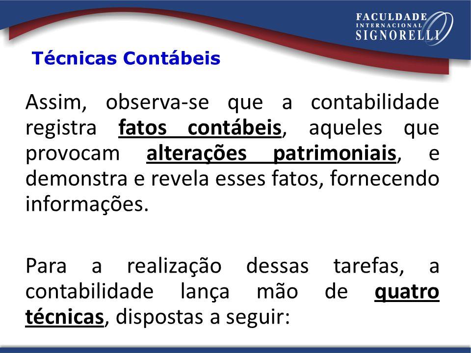 Técnicas Contábeis Assim, observa-se que a contabilidade registra fatos contábeis, aqueles que provocam alterações patrimoniais, e demonstra e revela