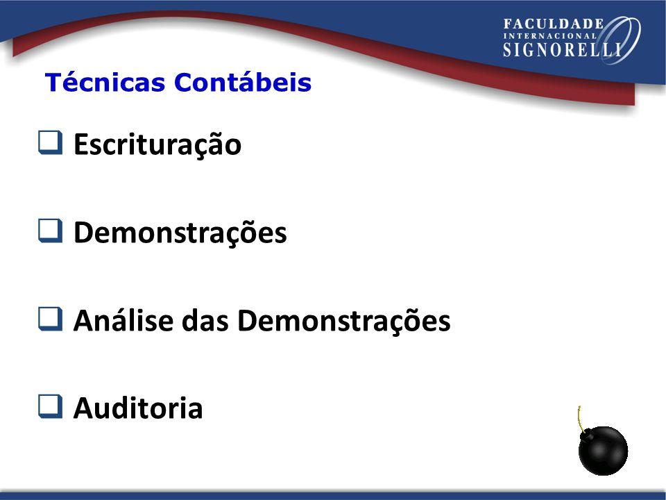 Técnicas Contábeis Escrituração Demonstrações Análise das Demonstrações Auditoria