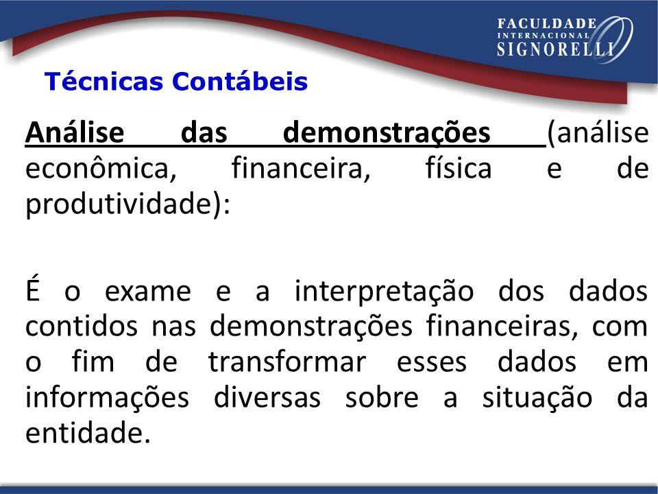 Análise das demonstrações (análise econômica, financeira, física e de produtividade): É o exame e a interpretação dos dados contidos nas demonstrações