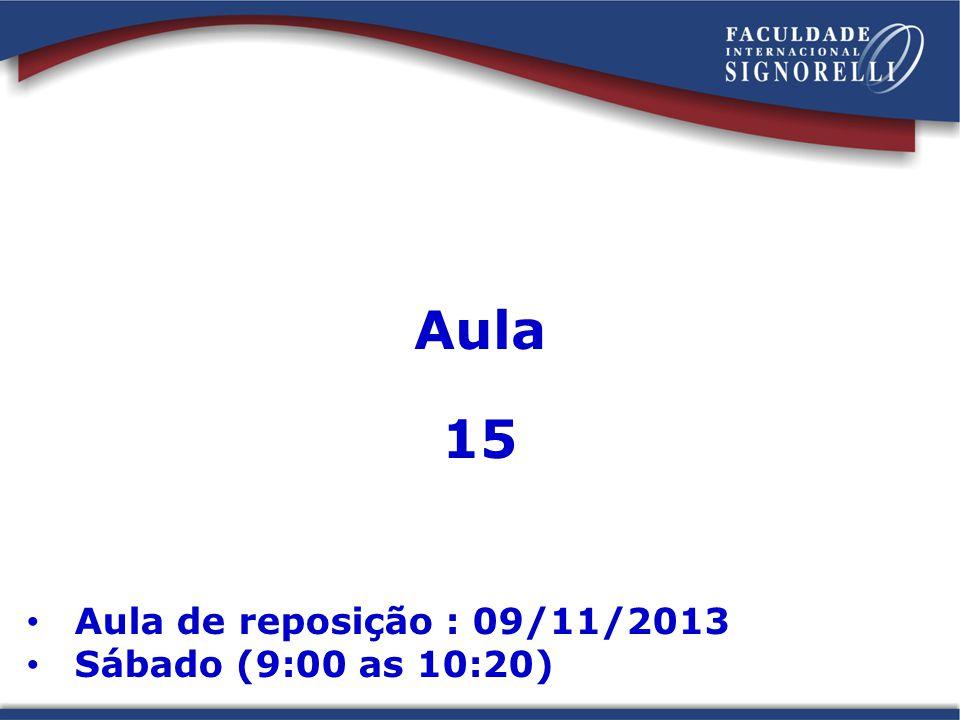 Aula 15 Aula de reposição : 09/11/2013 Sábado (9:00 as 10:20)