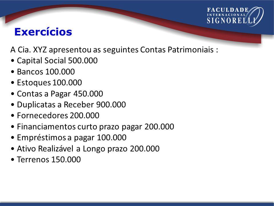 A Cia. XYZ apresentou as seguintes Contas Patrimoniais : Capital Social 500.000 Bancos 100.000 Estoques 100.000 Contas a Pagar 450.000 Duplicatas a Re