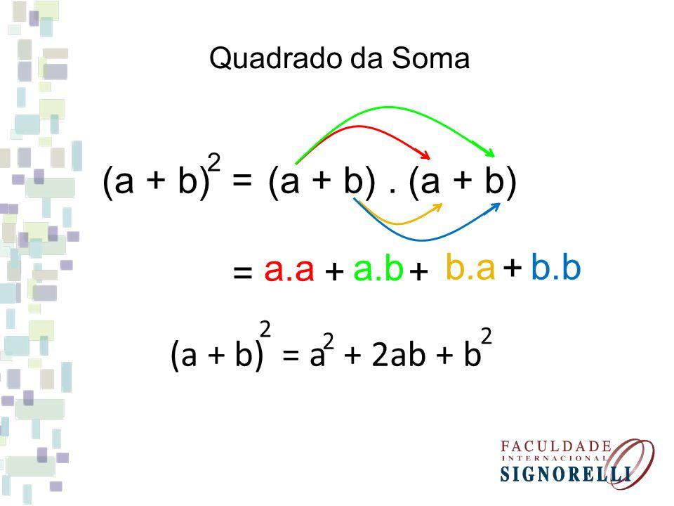 (a + 6) = 2 Desenvolva os produtos notáveis: a + 12a + 36 2 (m + 11) = 2 m + 22m + 121 2 (x + 8) = 2 x + 16x + 64 2 (p + 9) = 2 p + 18p + 81 2
