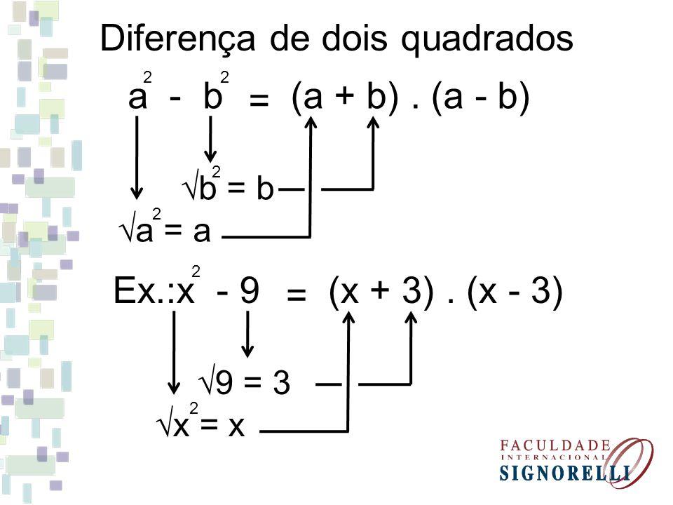 (x + 5). (x - 5) = Ex.: x - 25 2 x = x 2 25 = 5