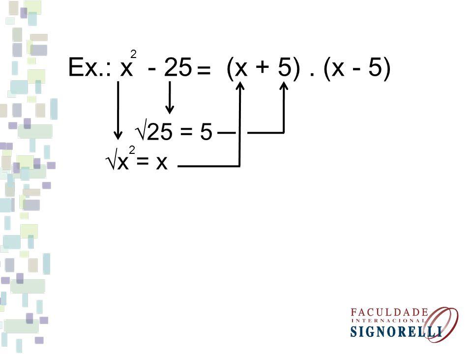 Fatore as expressões m - 4 2 (m + 2).(m - 2) = y - 49 2 (y + 7).