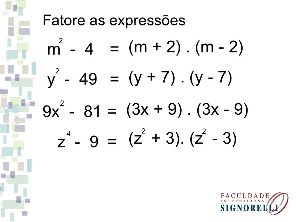 Trinômio Quadrado Perfeito (a + b) = a + 2ab + b 2 2 2 a + 2ab + b = (a + b) 2 2 2 (a - b) = a - 2ab + b 2 2 2 a - 2ab + b = (a - b) 2 2 2
