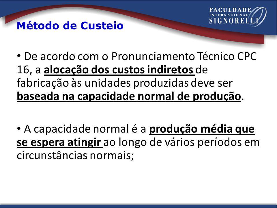 De acordo com o Pronunciamento Técnico CPC 16, a alocação dos custos indiretos de fabricação às unidades produzidas deve ser baseada na capacidade normal de produção.